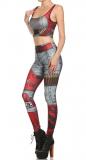 Women Running Yoga Pants & Vest Set Pattern Tights Stretchy Pants