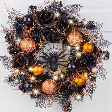 The Cordless Prelit Halloween Spider Wreath