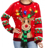 Ugly Christmas Sweater Built-in Light Bulbs