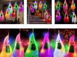 Halloween Ghost Hanging Decorations with Witch Hat Shapes