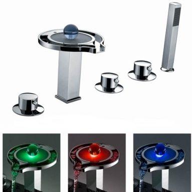 Three Handles Chrome Waterfall LEDBathtub Faucet