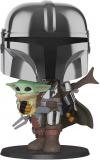 Funko Pop! Star Wars: Mandalorian – 10″ Chrome Mandalorian with The Child