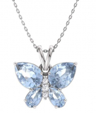 Gemstone and Diamond Butterfly Necklace