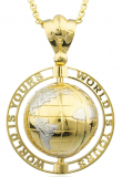 Gold 'World Is Yours' Rotating Globe Pendant