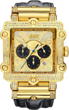 JBW Men's Diamond And Gold Bezel Leather Band Watch