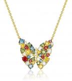 Multi Color Diamond Designer Butterfly Necklace