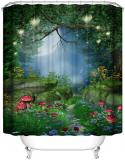 Mysterious Forest Mushroom Green Shower Curtain Waterproof