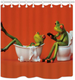 One Frog Sit on Toilet The Girl Frog in The Bathtub for Kids Shower Curtain Waterproof