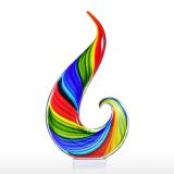 Rainbow Glass Sculpture Hand Blown Glass