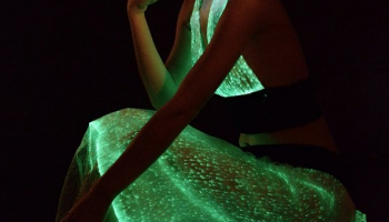 Remote Control Multicolors Luminous Clothing Optic Fiber Material Led Flashing Dress