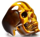 Skullis Gold Tiger Eye Crystal Skull Ring