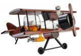 Whiskey Decanter Airplane Set and Glasses Antique Wood Airplane