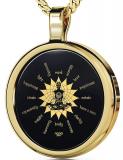Yoga Meditation Necklace Inspirational Words Spirit Pendant 24k Gold