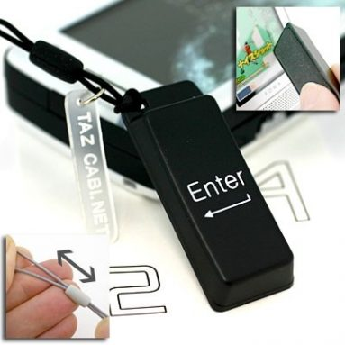 Computer Key Shaped Mobile Display Cleaner Cell Phone Strap