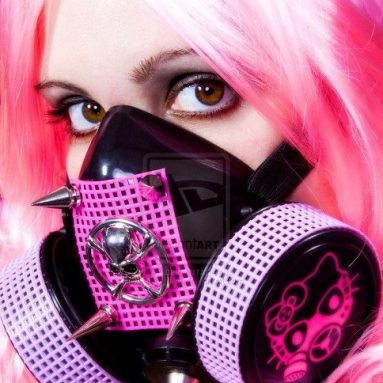 Hello Kitty Gas Mask with Skull Ornament