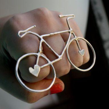 Sterling Silver Bike Knuckle Ring
