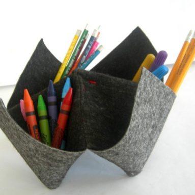 Felted Wool Origami desk organizer