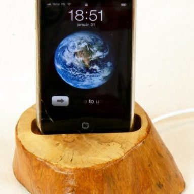 Wooden iPhone dock with sync cable