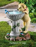 Playful Puppy Birdbath Garden Fountain