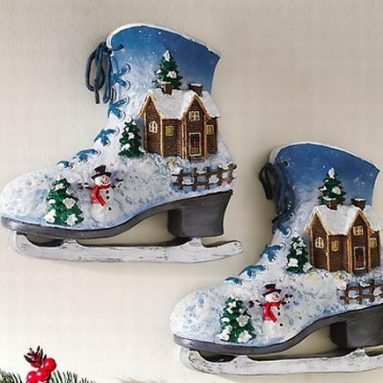 Winter Scene Ice Skates Wall Decoration