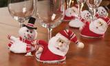 Santa and Snowmen Holiday Wine Glass Coasters