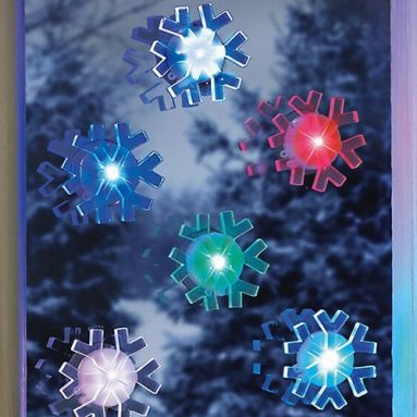 6 LED Color Changing Suction Cup Snowflakes